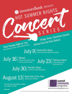 Summit's Hot Summer Nights Concert Series @ Summit's Village Green