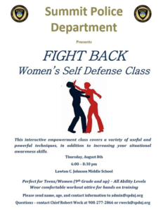 Summit Police Present Women's Self Defense Class @ Lawton C. Johnson Summit Middle School