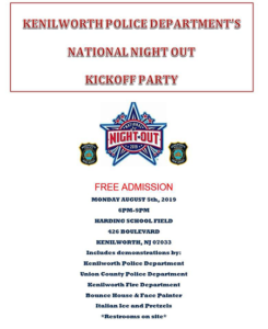 Kenilworth's National Night Out Kickoff Party @ Harding School Field