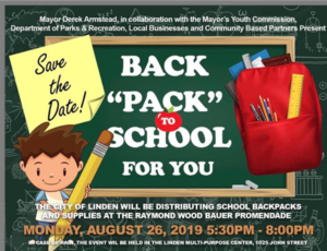 "City of Linden's Back ""Pack"" to School for You @ Raymond Wood Bauer Promenade"
