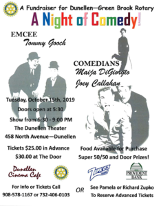 A Night of Comedy with the Dunellen-Green Brook Rotary Club @ Dunellen Theater