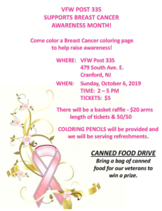 Cranford VFW Breast Cancer Coloring Night @ VFW Post 335