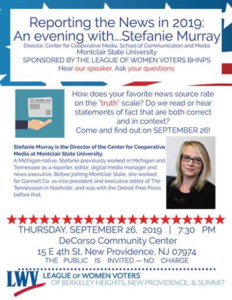 BHNPS League of Women Voters: An Evening with Stefanie Murray @ DeCorso Community Center