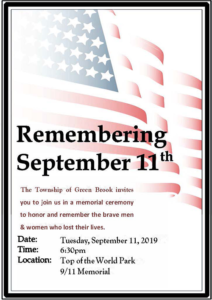 Green Brook's September 11th Memorial Ceremony @ Top of the World Park