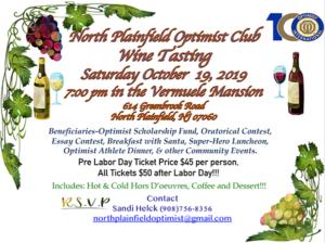 North Plainfield Optimist Club's Wine Tasting @ Vermuele Mansion