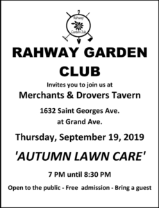 Rahway Garden Club - Autumn Lawn Care @ The Merchants & Drovers Tavern Museum