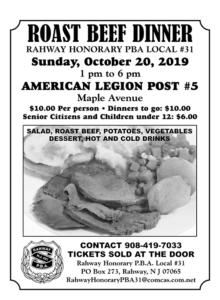 Rahway PBA Roast Beef Dinner @ American Legion Post #5