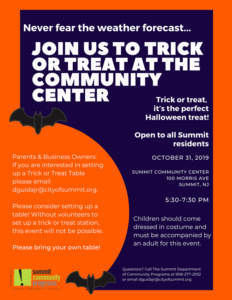 Trick Or Treating At The Summit Community Center Renna Media