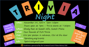 Trivia Night with the Fanwood-Scotch Plains Rotary Club @ Shady Rest at Scotch Hills C.C.