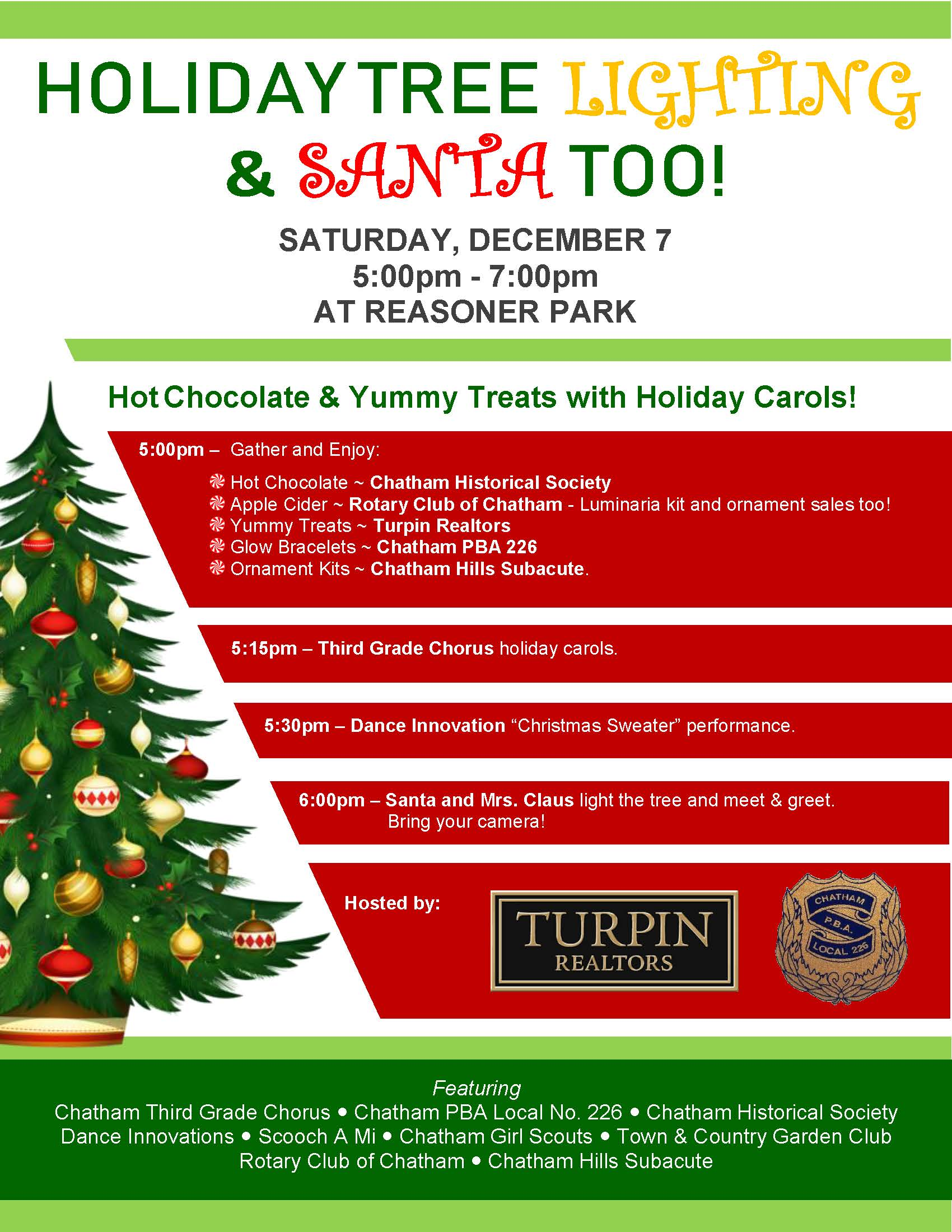 Chatham Holiday Tree Lighting & Santa Visit @ Reasoner Park