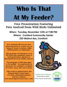 """Who Is That At My Feeder?"" Presentation with Hanson Park Conservancy @ Cranford Community Center"