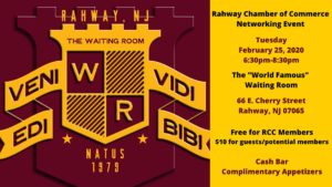 Rahway Chamber of Commerce Networking Event @ The Waiting Room