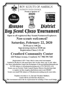 7th Annual Munsee District Boy Scout Chess Tournament @ Cranford Community Center